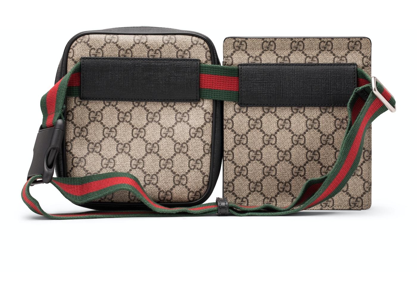5d4234417 Gucci Belt Bag GG Supreme Web Waist Strap Black/Beige