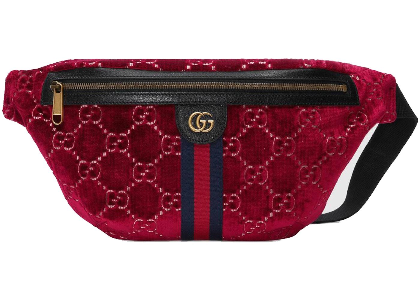 d1fc961083 Gucci Belt Bag GG Velvet Red