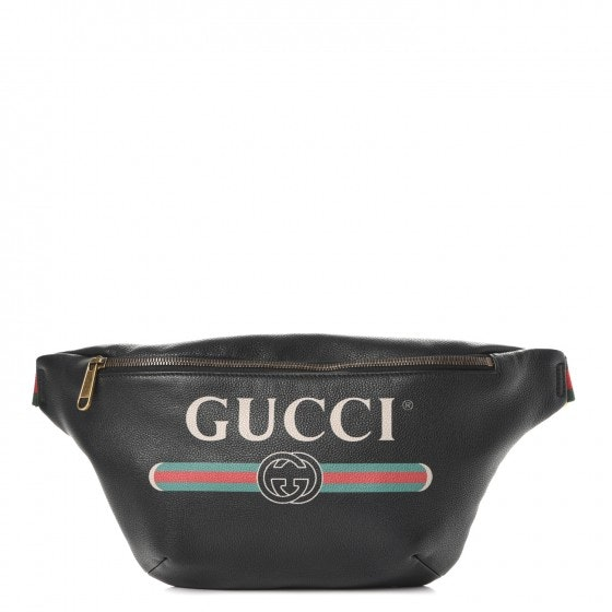 Gucci Print Belt Bag Vintage Logo Medium (37 - 47 in.) Black