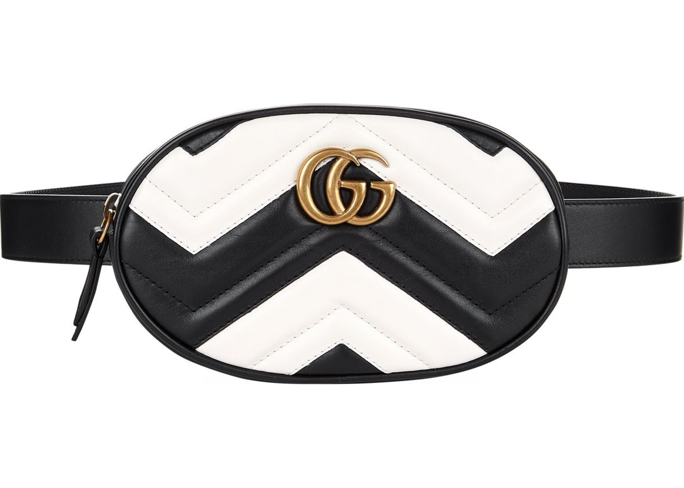 10c01389cff Gucci Marmont Belt Bag Matelasse GG Black White. Matelasse GG Black White
