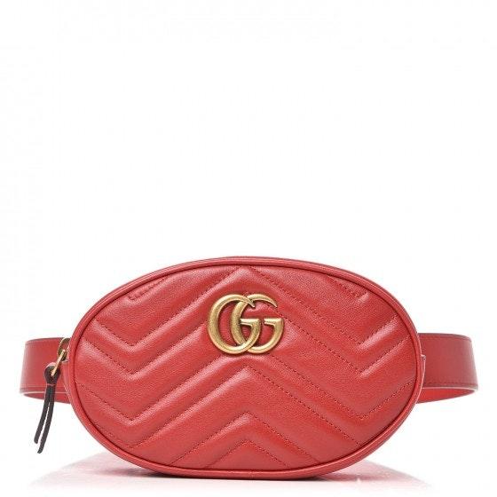 Gucci Marmont Belt Bag Matelasse GG Hibiscus Red