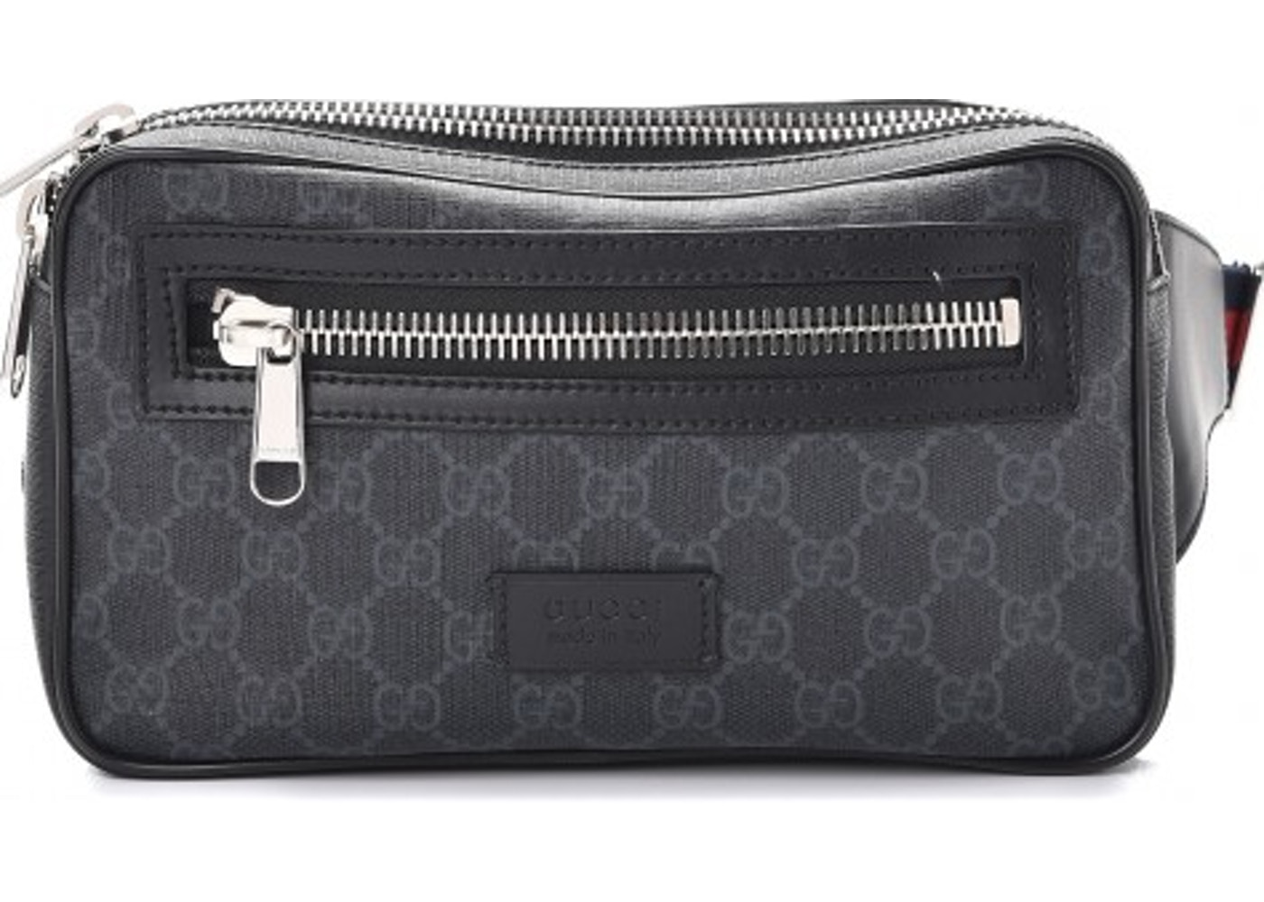 8d4234700d12f Gucci Belt Bag Monogram GG Supreme Web Stripe Strap Black