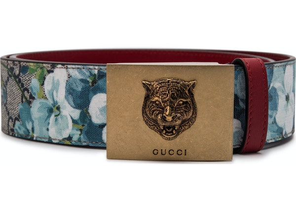 dbca63ca5e0 Gucci Belt Blooms Tiger Plaque Buckle Blue Multicolor