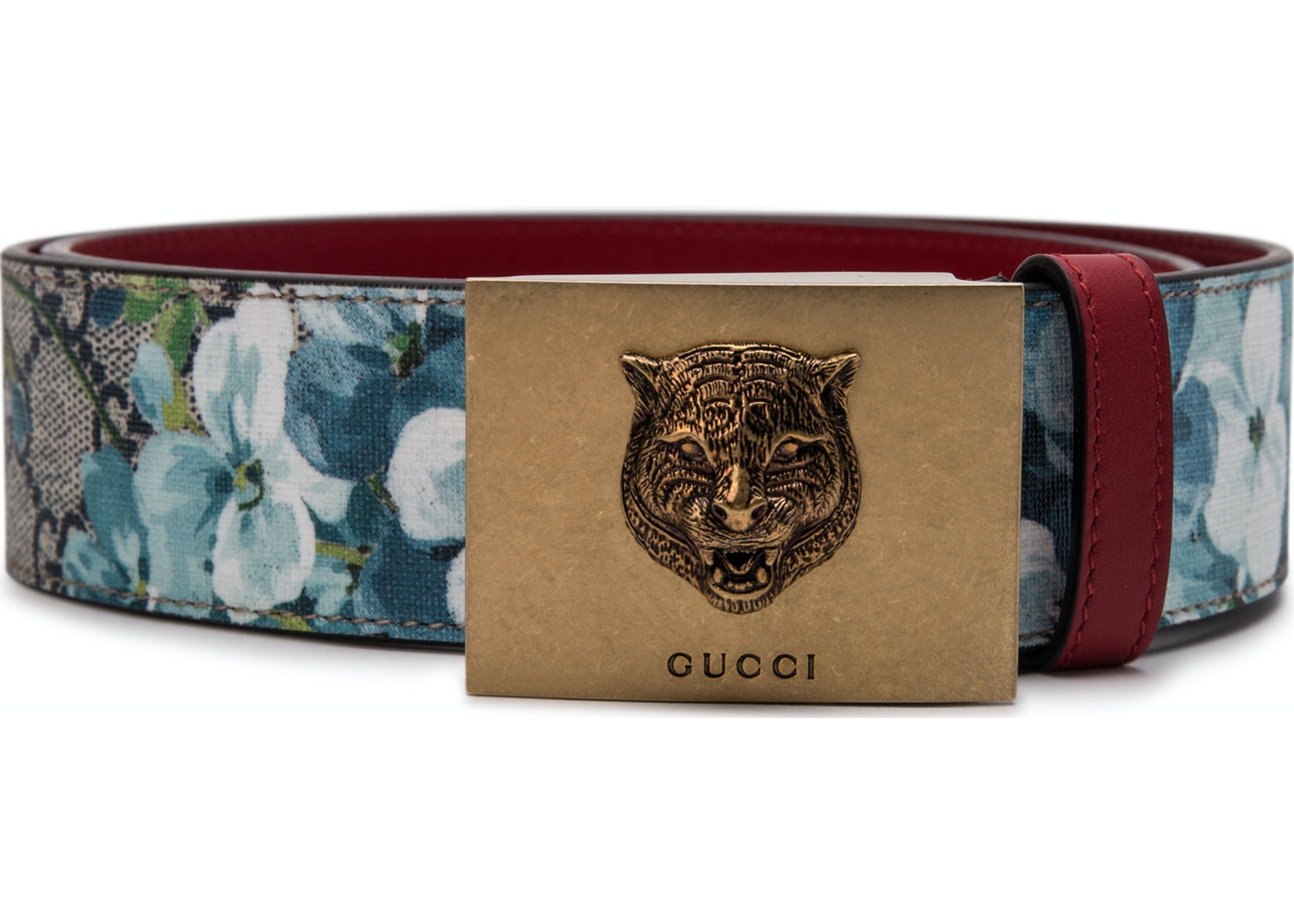 8cca762c025 Gucci Belt Blooms Tiger Plaque Buckle Blue Multicolor. Blooms Tiger Plaque  Buckle Blue Multicolor
