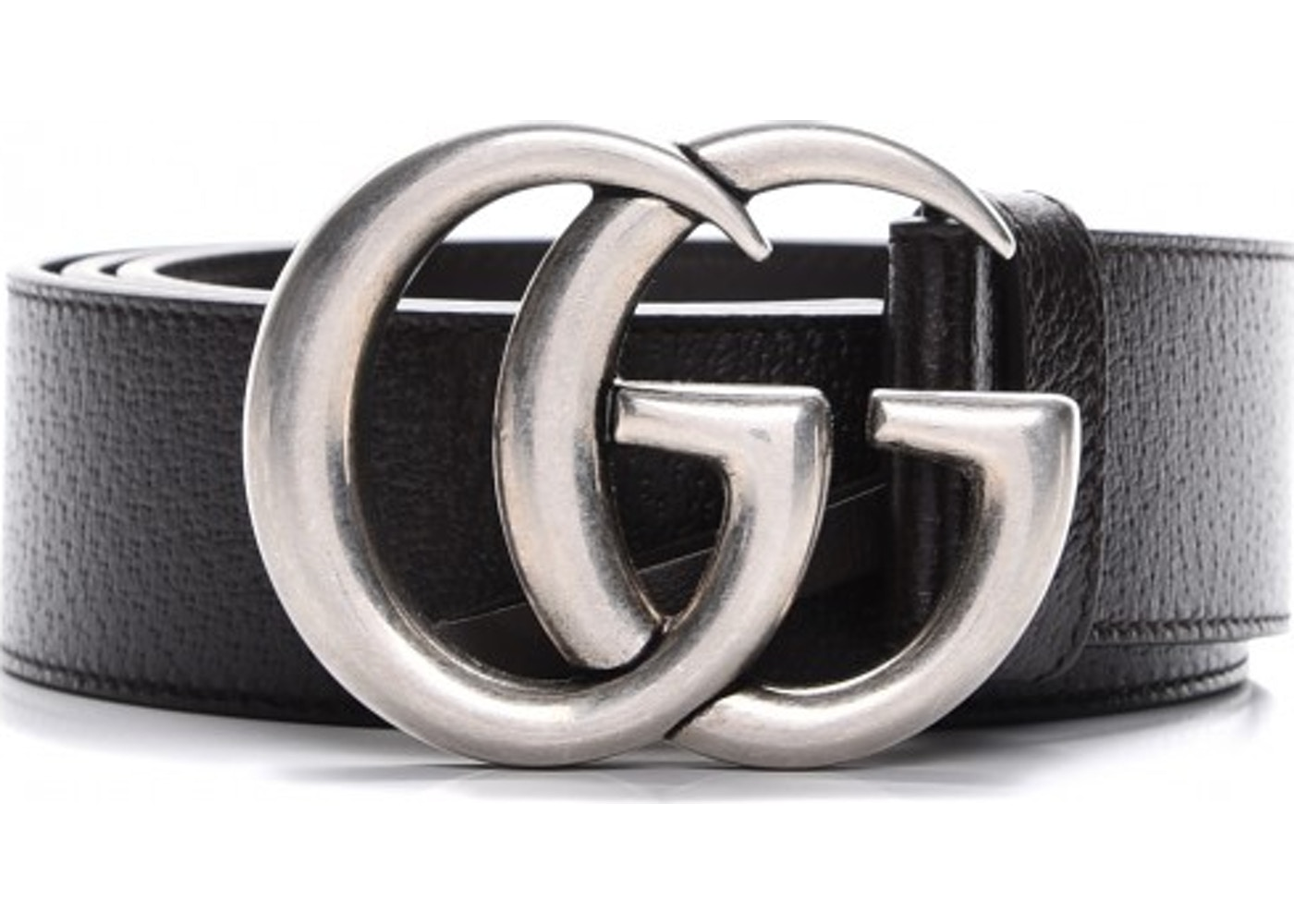 d31910a38e9c6 Gucci Double G Silver Buckle Textured Leather Belt 1.5 Width Black