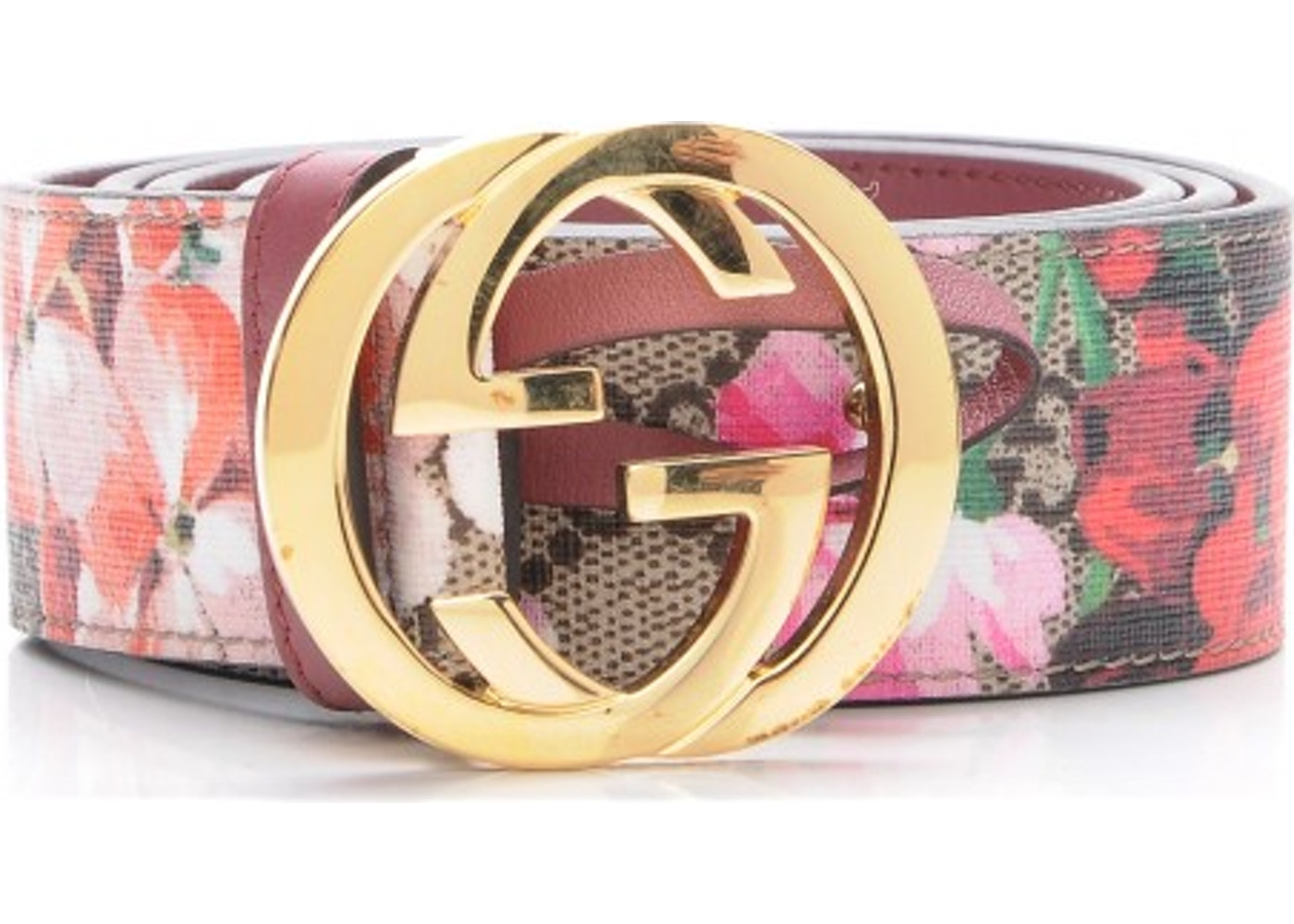 b4444f1fa1b Gucci G Belt Blooms GG Supreme 85 34 Pink Brown Beige Green
