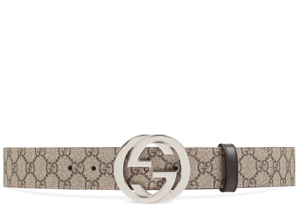 Gucci Belt GG Supreme Interlocking G Buckle 1.5W Beige Ebony/Cocoa