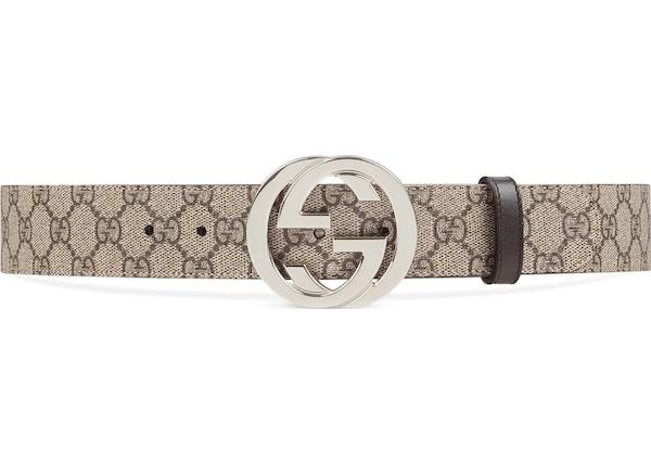 537d9720b Gucci Belt GG Supreme Interlocking G Buckle 1.5W Beige Ebony/Cocoa