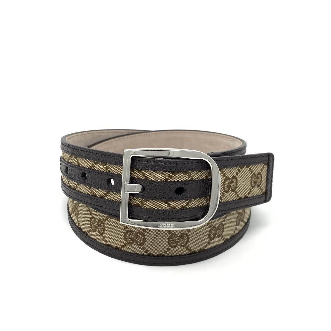 Gucci Belt GG Supreme Leather Trimmed 1.5W Beige/Ebony