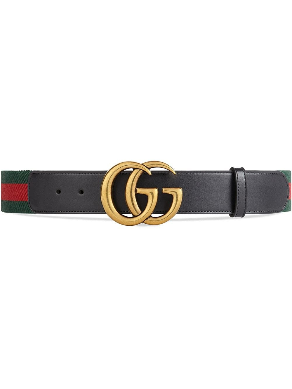 Gucci Belt Green/Red Web Double G Brass Buckle 1.5W Black