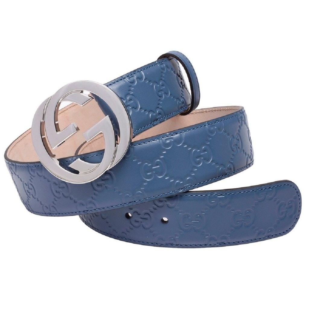 Gucci Belt Guccissima Interlocking G Buckle Blue