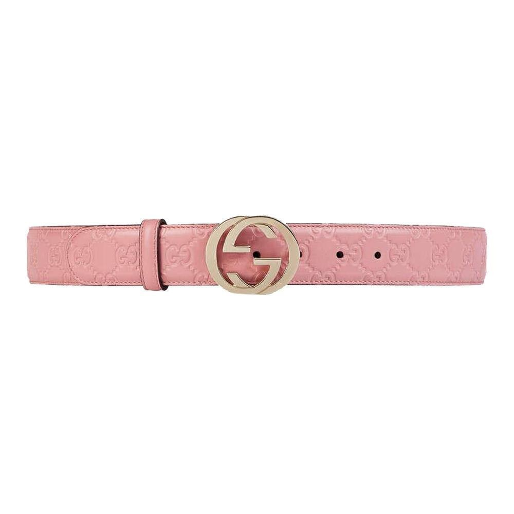Gucci Belt Guccissima Monogram Interlocking G Soft Pink