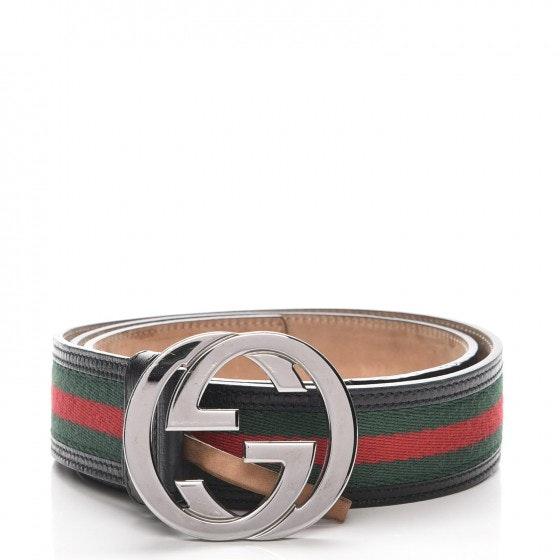 Gucci Interlocking G Belt Monogram Web 100 40 Black/Green/Red