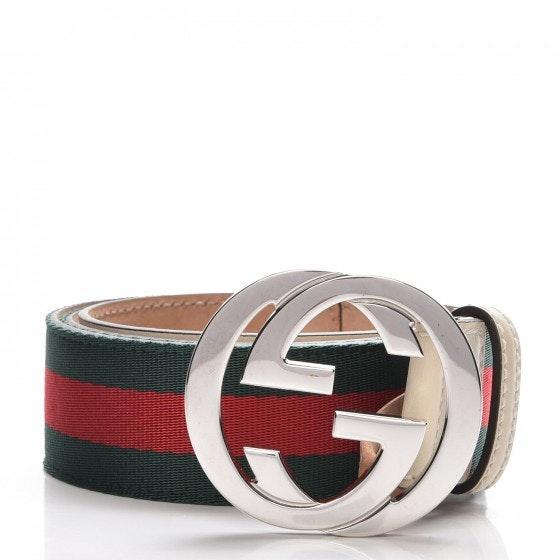 Gucci Interlocking G Belt Web 90 36 Off White/Green/Red