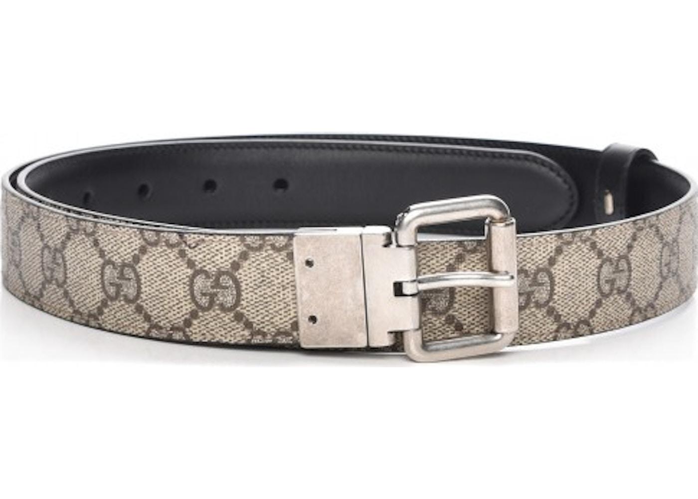 c2f6c255de1 Gucci Reversible Belt Monogram GG 90 36 Black Beige