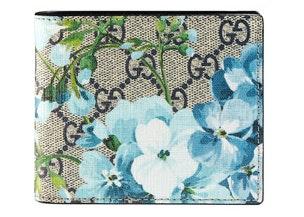 Gucci Bi-Fold Wallet Blue Blooms Beige/Ebony