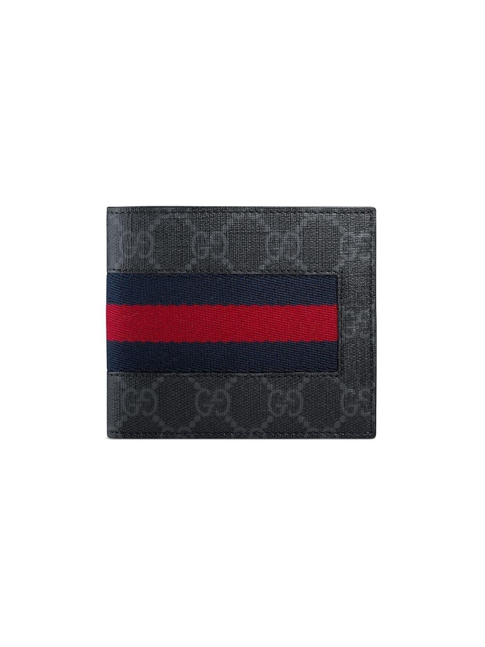 Gucci Bifold Coin Wallet GG Supreme Web Black