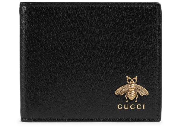Gucci Bifold Wallet Animalier Bee Black