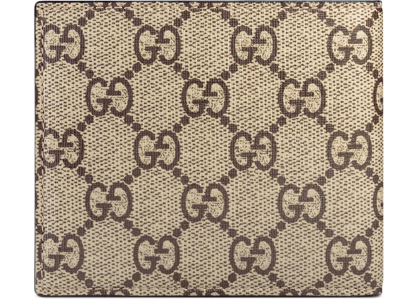 b98adb030e40 Gucci Bifold Wallet GG Supreme Angry Cat Print Beige