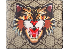 5915efdead93 Gucci Bifold Wallet GG Supreme Angry Cat Print Beige