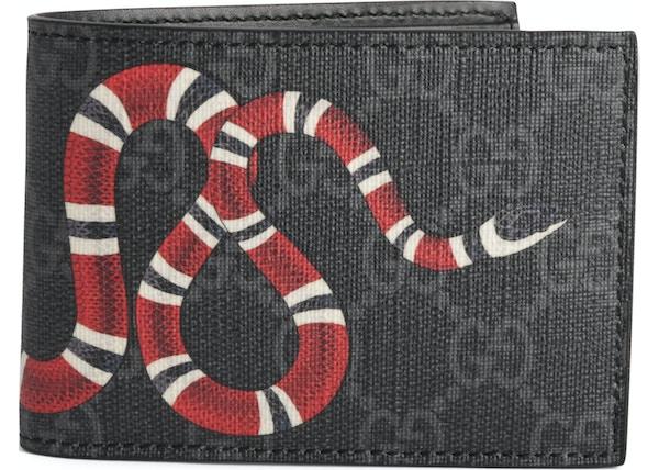228e1841965 Gucci Bifold Wallet GG Supreme Kingsnake (4 Card Slots) Black