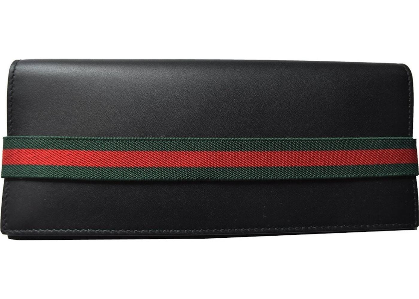 e1671ffd5e33 Gucci Bifold Wallet Web Stripe Elastic Tall Black