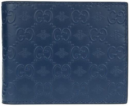 Gucci Bifold Wallet Guccissima Bee with Money Clip Navy