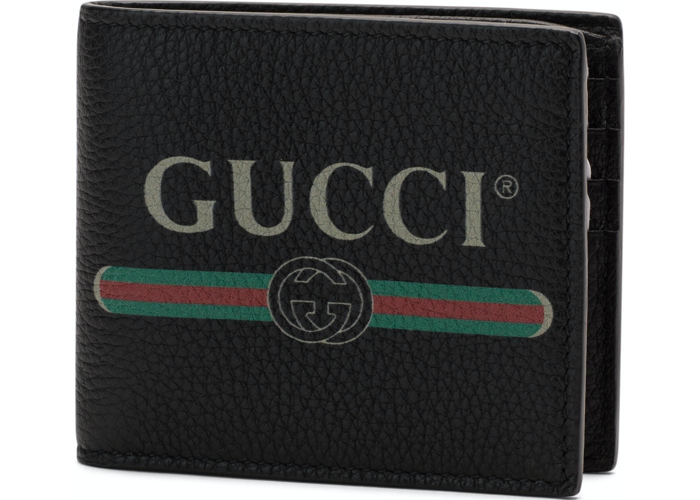 2c05c824289c Gucci Print Bifold Wallet Textured Leather (8 Card Slots) Black