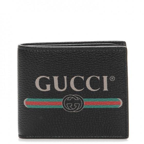 Gucci Bifold Wallet Logo Calfskin Black