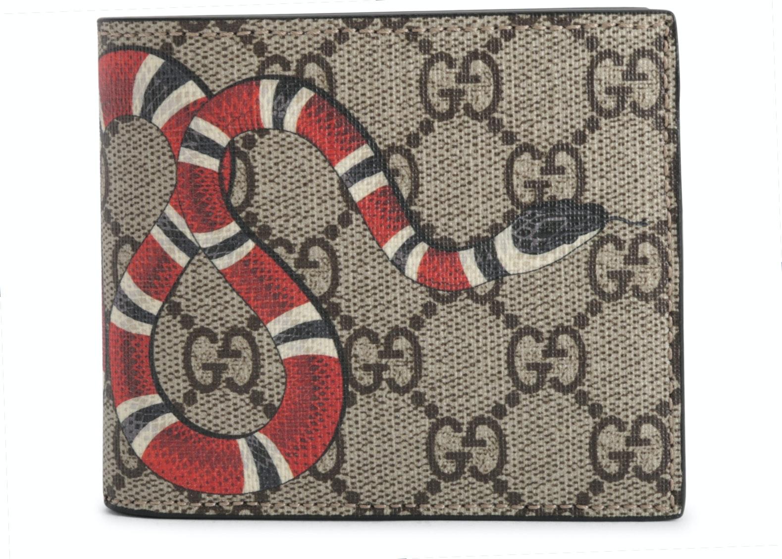 Gucci Bifold Wallet Monogram GG Supreme Kingsnake (8 Card Slots) Beige