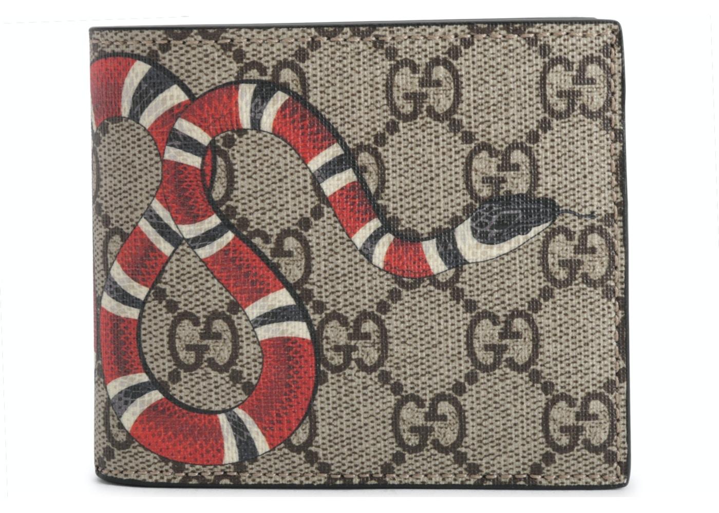 34bf4460a72 Gucci Bifold Wallet Monogram GG Supreme Kingsnake (8 Card Slots) Beige.  Monogram GG Supreme Kingsnake (8 Card Slots) Beige