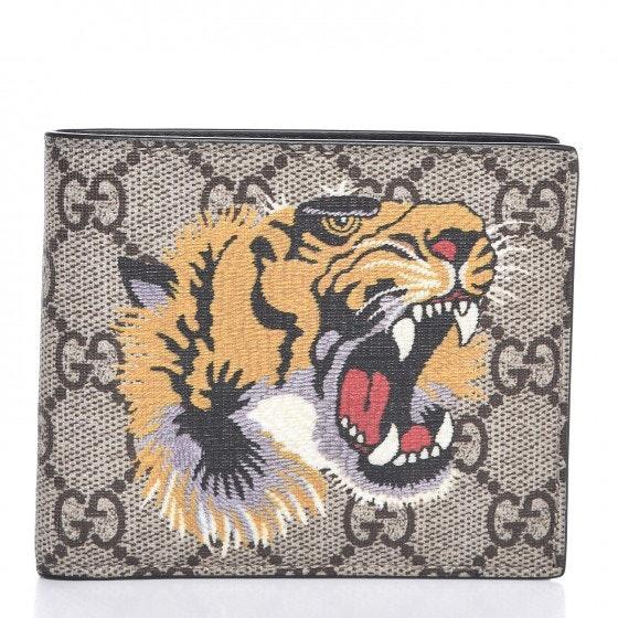 Gucci Bifold Wallet Supreme Tiger Beige