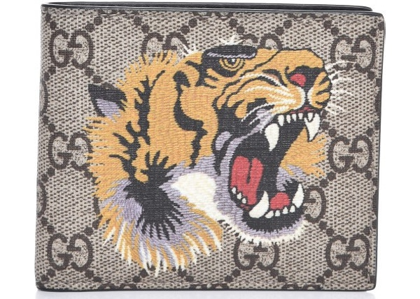Gucci Bifold Wallet GG Supreme Tiger Beige 573ed42d02e23