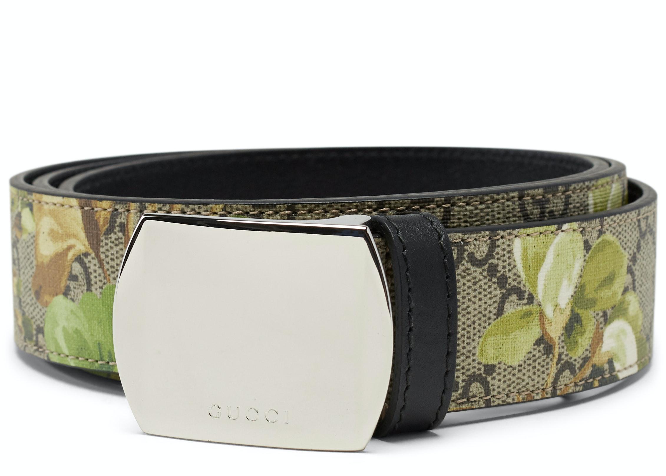 Gucci Bloom Belt GG Supreme Green Floral Beige/Ebony
