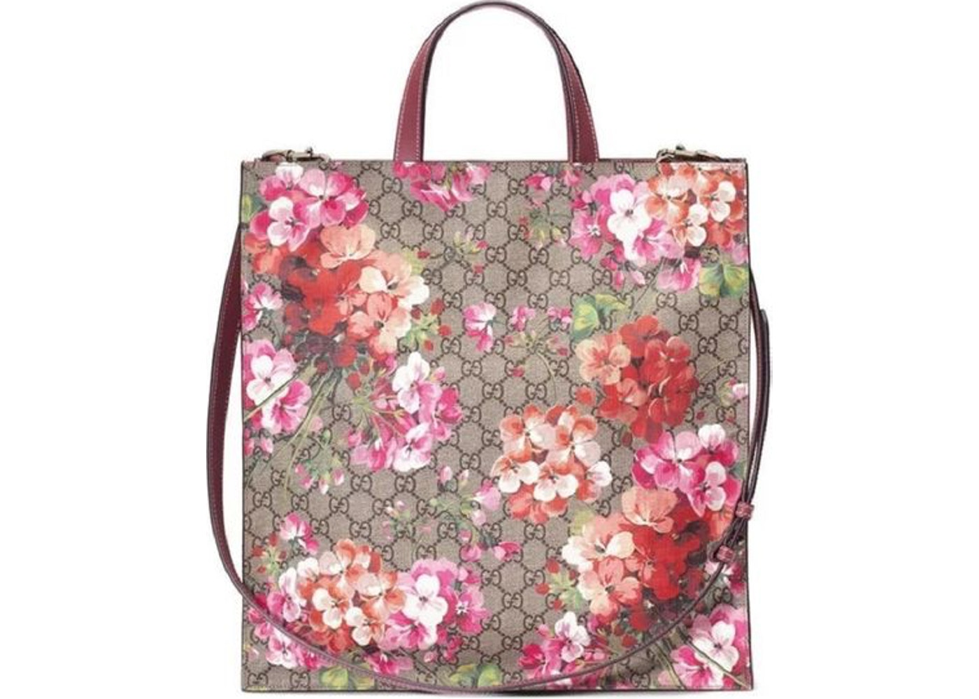 df9d4773452 Gucci Tote GG Supreme Blooms Large Pink/Brown
