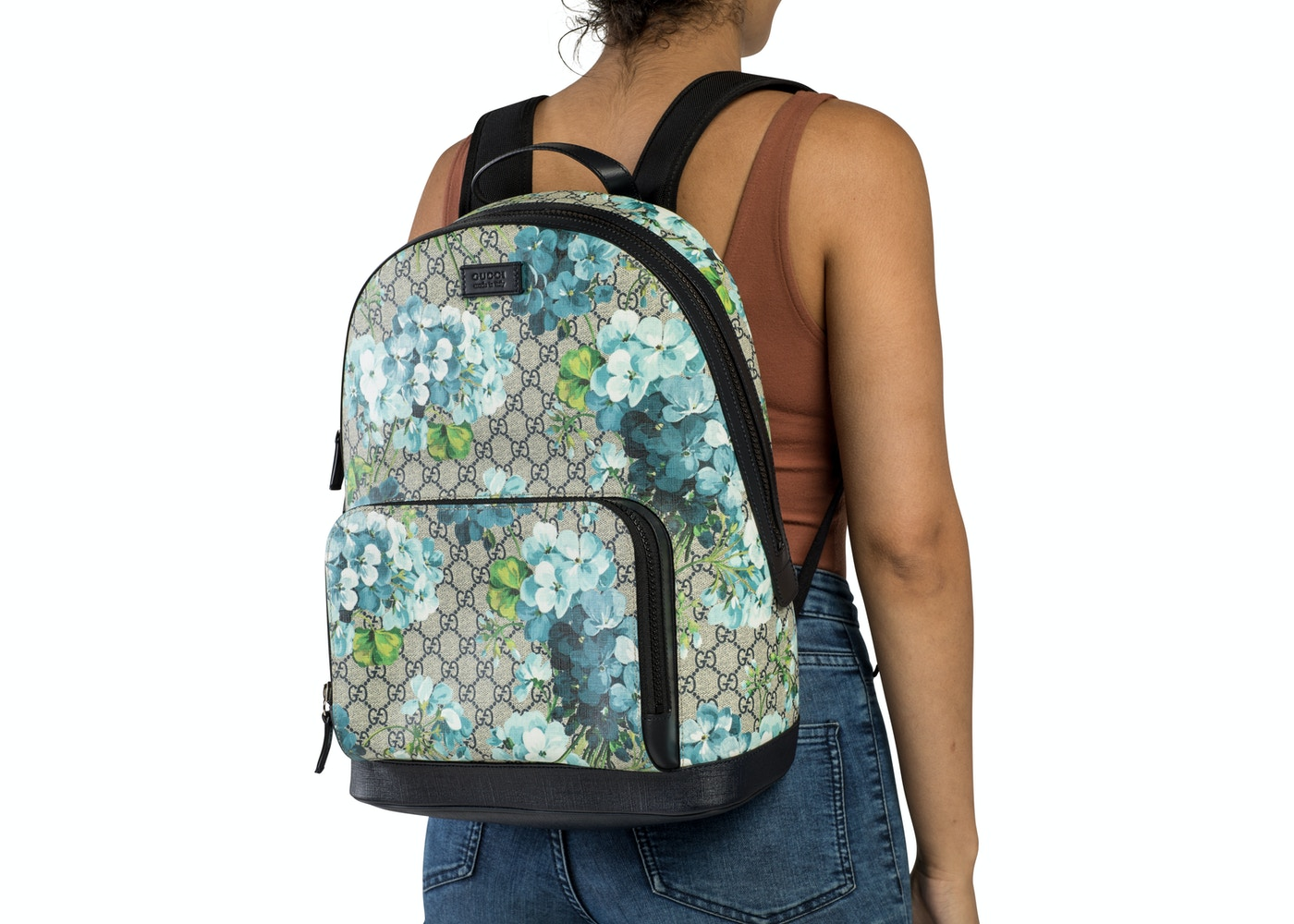 4498d9797746b7 Gucci Blooms Backpack GG Supreme Blue