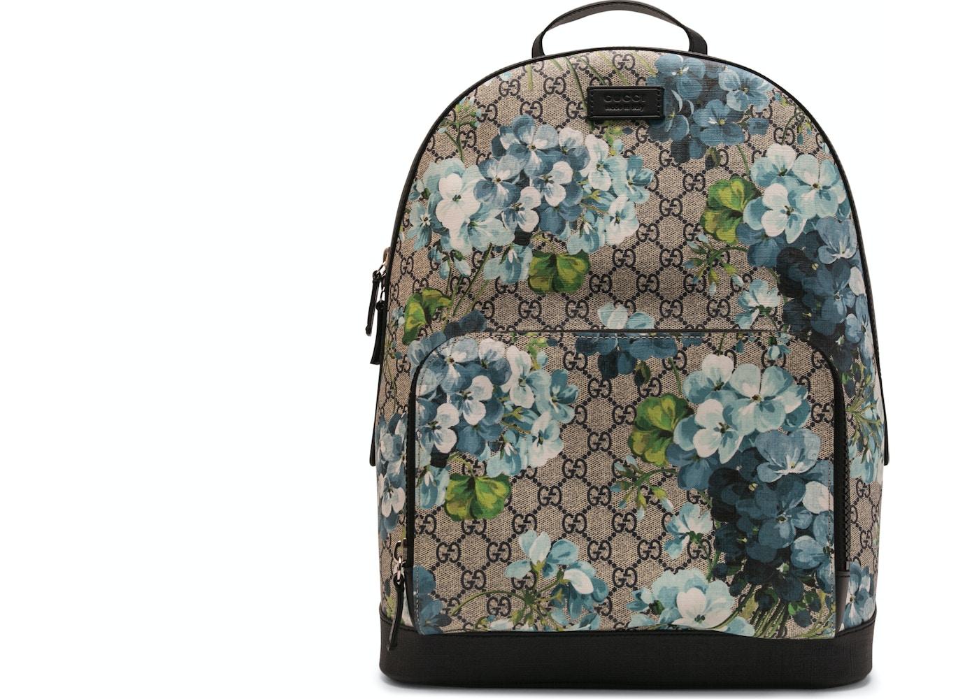 5c369eee2f8c Gucci Blooms Backpack GG Supreme Blue. GG Supreme Blue