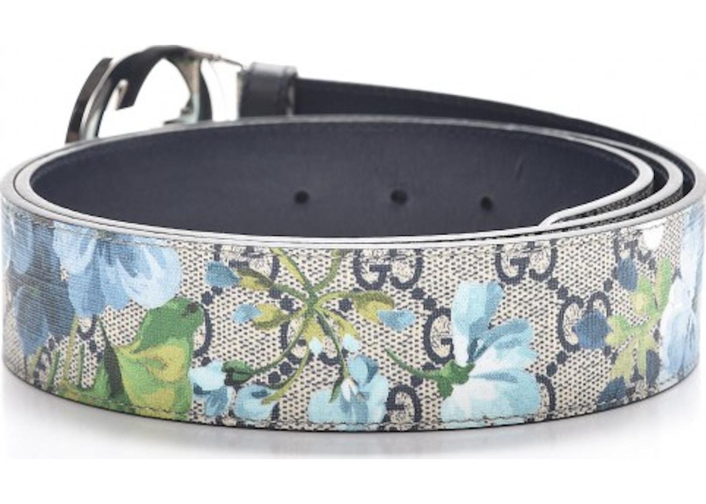 71d8c1b72 Gucci Blooms Belt GG Supreme Monogram Beige/Blue