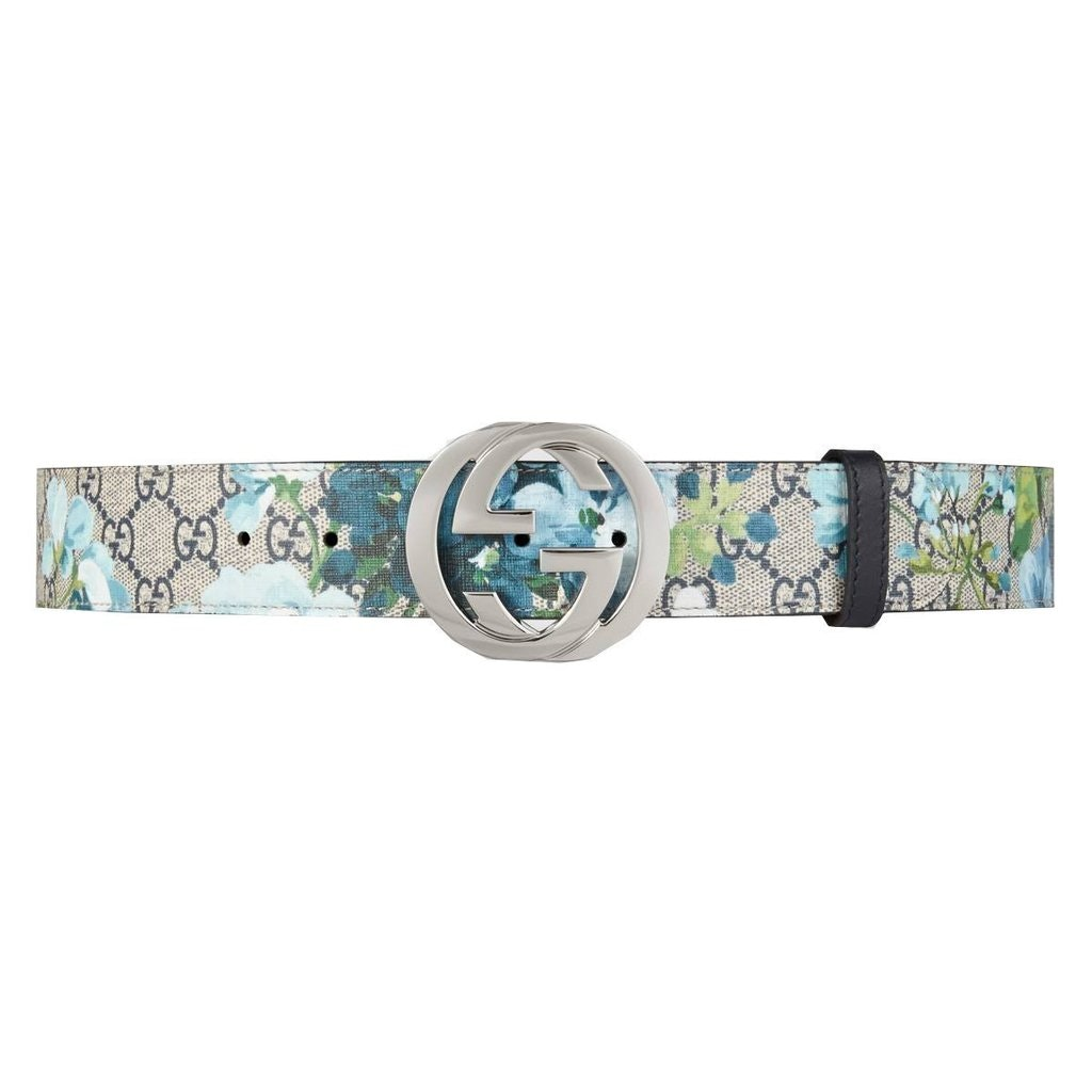 Gucci Blooms Belt GG Supreme Monogram Beige/Blue
