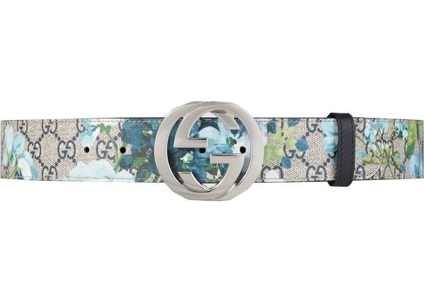 2474319c43c Gucci Blooms Belt GG Supreme Monogram Beige Blue