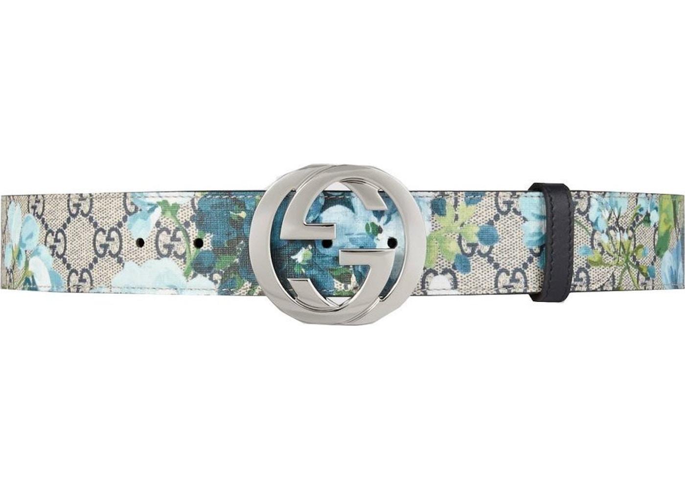 8cf67231211f4 Gucci Blooms Belt GG Supreme Monogram Beige Blue
