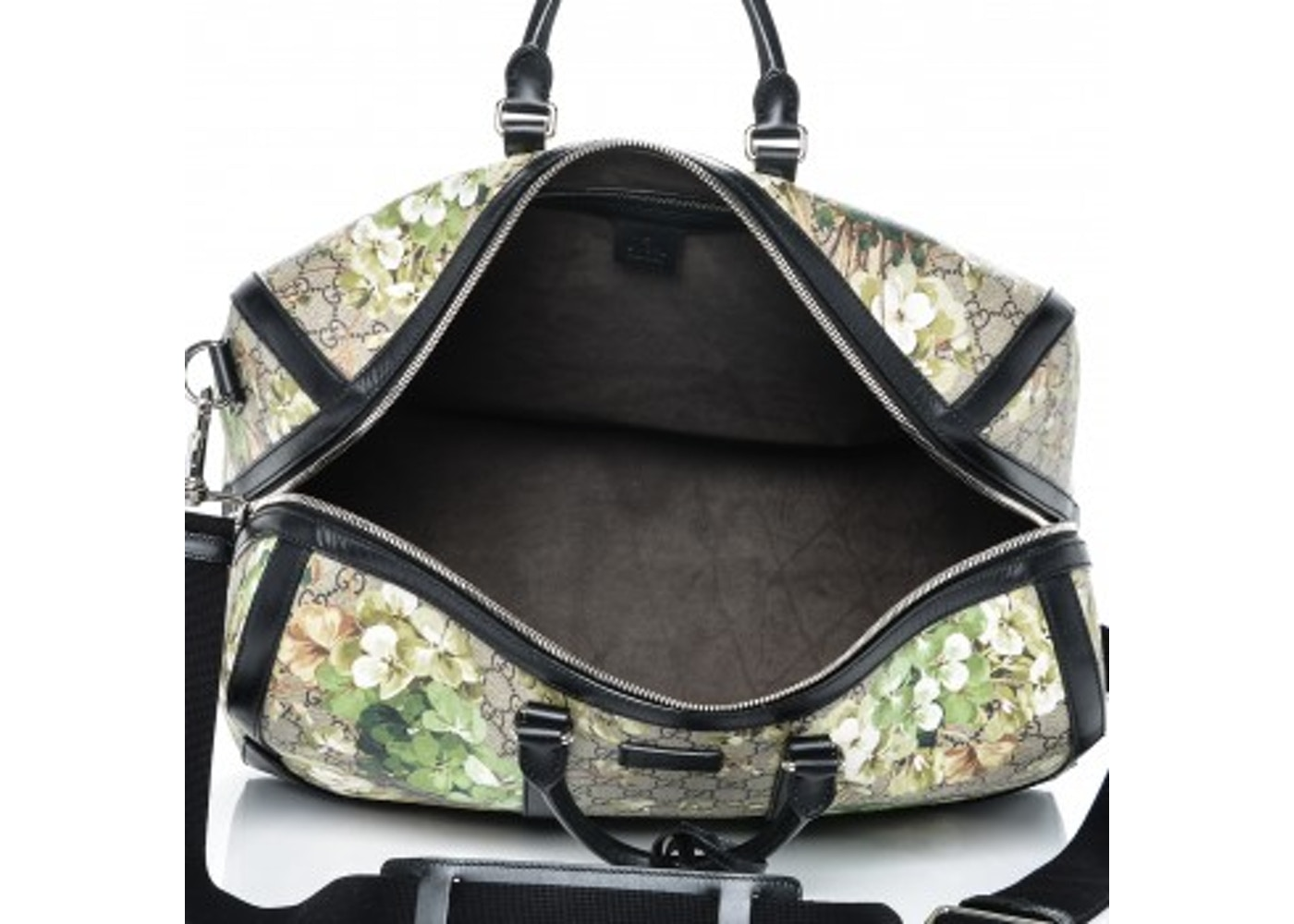 7bc640017c5a Gucci Duffle Bag Blooms GG Supreme Monogram Floral Print Medium Green/Black