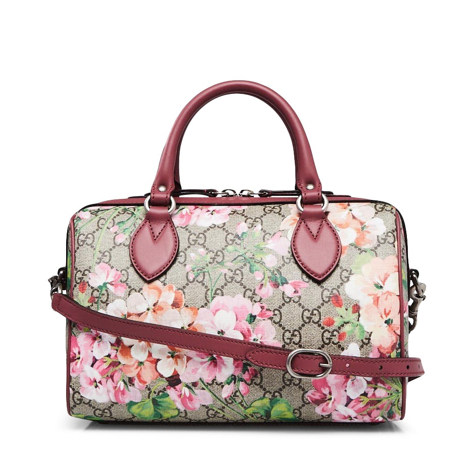 Gucci Boston Bag Satchel GG Supreme Blooms Small Brown/Pink