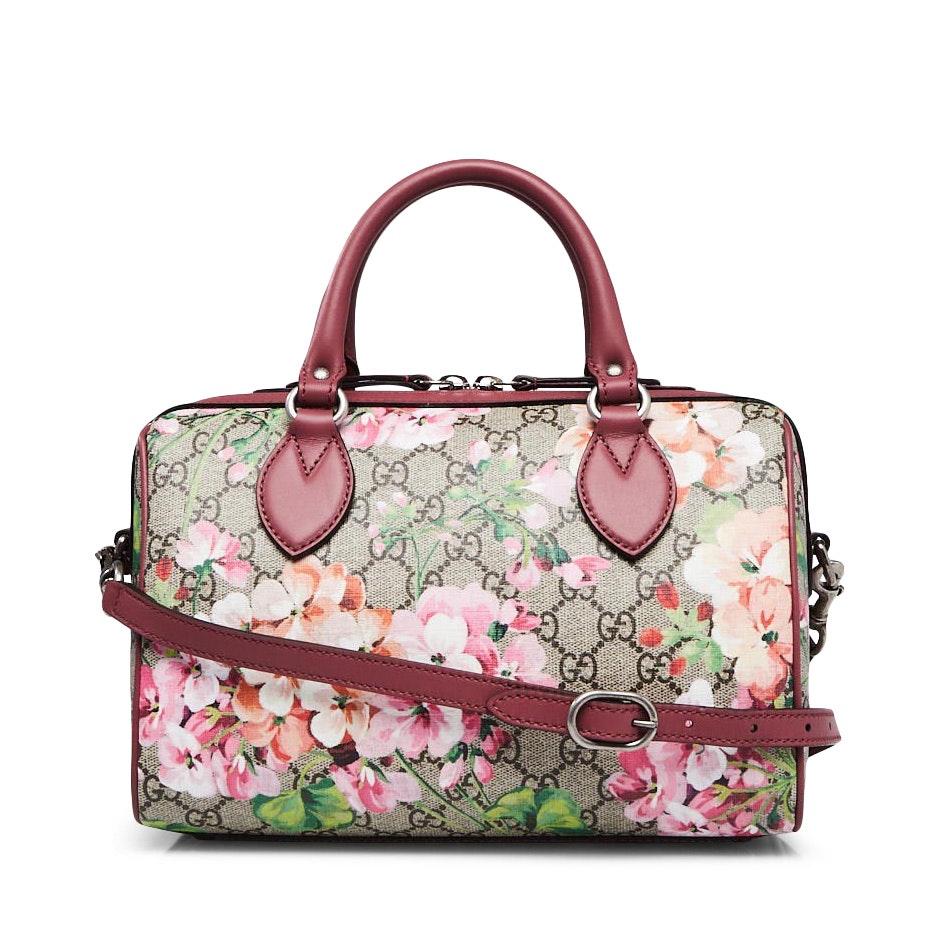 Gucci Boston Bag Satchel GG Supreme Blooms Small Brown/Pink