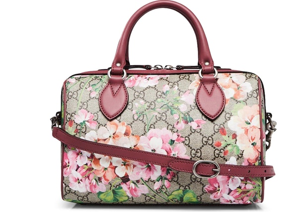 8382f63319bf34 Gucci Boston Bag Satchel GG Supreme Blooms Small Brown/Pink