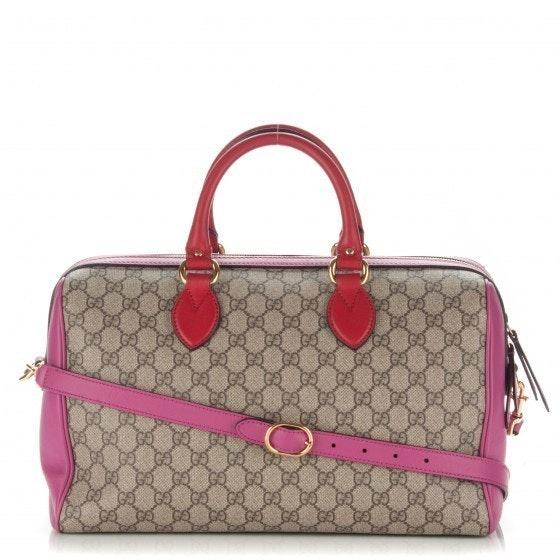 Gucci Boston Bag Satchel GG Supreme Medium Hibiscus Pink