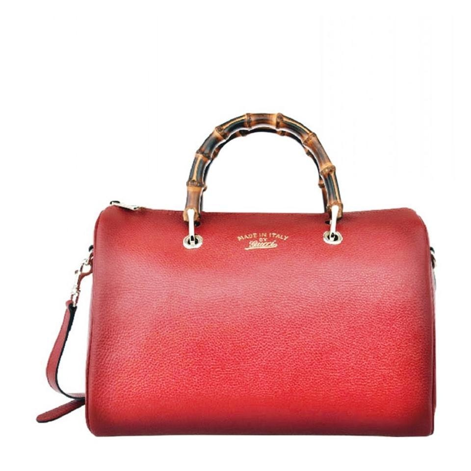 Gucci Boston Top Handle Bamboo Red