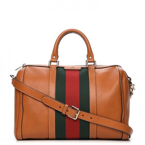 Gucci Boston Travel Bag Web Medium Tobacco/Green/Red