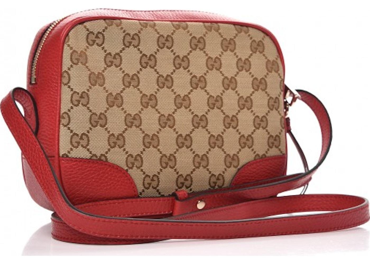 0762867052e189 Gucci Bree Messenger Monogram GG Mini Red
