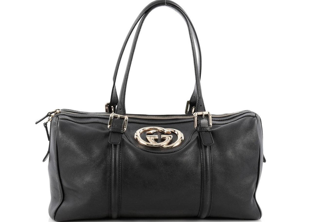 Gucci Britt Boston Bag Satchel Duffle Large Black